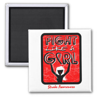 Fight Like A Girl Slogan Sign Stroke 2 Inch Square Magnet