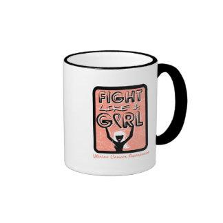 Fight Like A Girl Slogan Sign Uterine Cancer Coffee Mugs