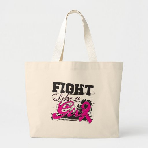 Fight Like a Girl Spray Paint - Breast Cancer Jumbo Tote Bag