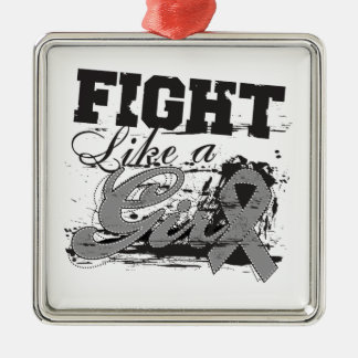 Fight Like a Girl Spray Paint - Diabetes Square Metal Christmas Ornament