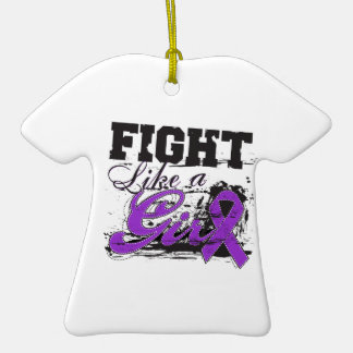 Fight Like a Girl Spray Paint - Epilepsy Double-Sided T-Shirt Ceramic Christmas Ornament