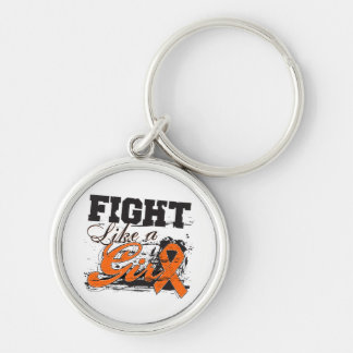 Fight Like a Girl Spray Paint - Multiple Sclerosis Silver-Colored Round Keychain