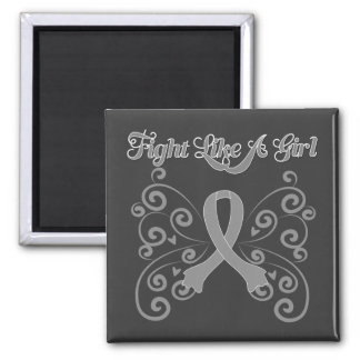 Fight Like A Girl Stylish Brain Cancer 2 Inch Square Magnet
