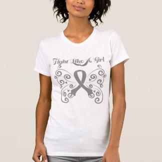 Fight Like A Girl Stylish Brain Cancer Tee Shirt