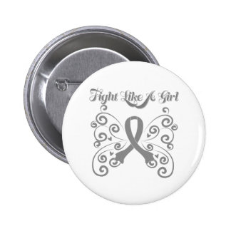 Fight Like a Girl Stylish Butterfly Bone Tumor 2 Inch Round Button