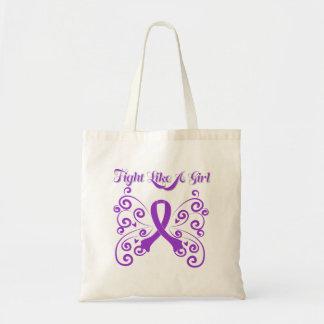 Fight Like A Girl Stylish Butterfly Fibromyalgia Tote Bag