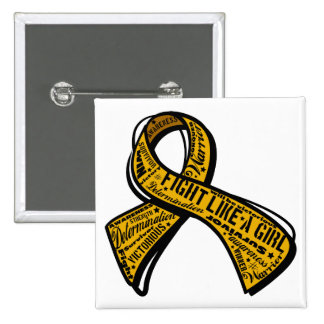 Fight Like a Girl Watermark - Appendix Cancer 2 Inch Square Button