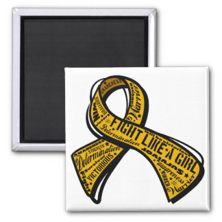 Fight Like a Girl Watermark - Appendix Cancer 2 Inch Square Magnet