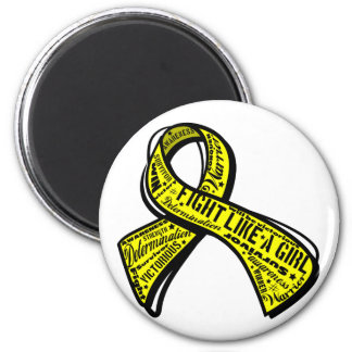 Fight Like a Girl Watermark - Bladder Cancer 2 Inch Round Magnet