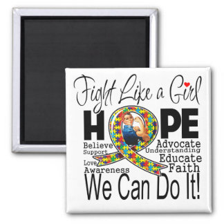Fight Like a Girl We Can Do It - Autism Awareness Refrigerator Magnet