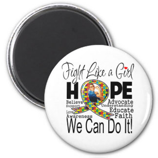 Fight Like a Girl We Can Do It - Autism Awareness Fridge Magnets
