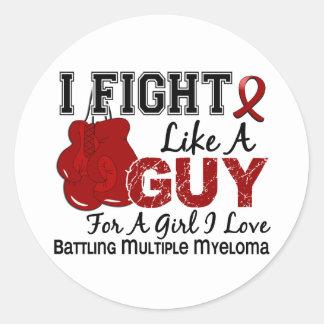 Fight Like A Guy Multiple Myeloma 15 Round Sticker