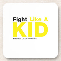 Fight Like A Kid Childhood Cancer Awareness Beverage Coaster