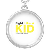 Fight Like A Kid Childhood Cancer Awareness Silver Plated Necklace