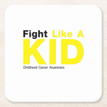 Fight Like A Kid Childhood Cancer Awareness Square Paper Coaster