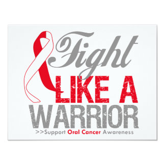 Fight Like a Warrior Oral Cancer 4.25x5.5 Paper Invitation Card