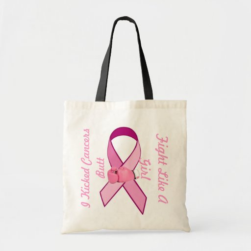 Fight Like Girl Cancer Awarenesss Ribbon Tote Bag