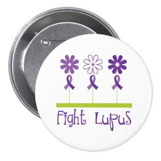 Fight Lupus Purple Flower Ribbon Pinback Button