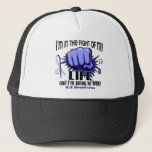 """Fight Of My Life 2 ALS Trucker Hat<br><div class=""""desc"""">You are an ALS aka Lou Gehrig&#39;s disease warrior. But more than that, you are a winner. Display your empowerment over this unwelcome opponent with Fight Of My Life t-shirts, apparel, gifts, and merchandise featuring a multi-shaded blue fist, bold text, and striking blue and white ALS awareness ribbon. Ideal for...</div>"""