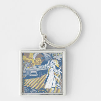 Fight of the Tiger Silver-Colored Square Keychain