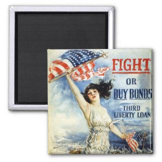Fight Or Buy Bonds, Vintage WWI Poster 2 Inch Square Magnet