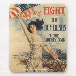 """""""Fight or Buy Bonds"""" WWl Poster Mouse Pad"""