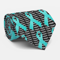 Fight Ovarian Cancer Teal Ribbon Neck Tie