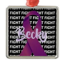 Fight Pancreatic Cancer Purple Ribbon Metal Ornament