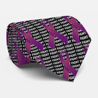 Fight Pancreatic Cancer Purple Ribbon Tie