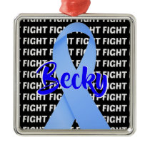Fight Prostate Cancer Light Blue Ribbon Metal Ornament