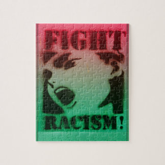 Fight Racism in Red Black and Green Jigsaw Puzzle