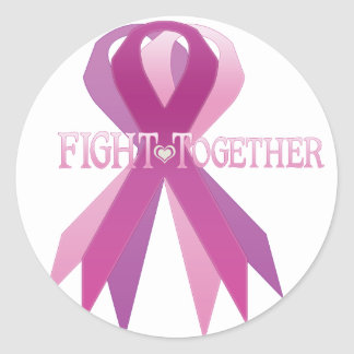 fight together classic round sticker