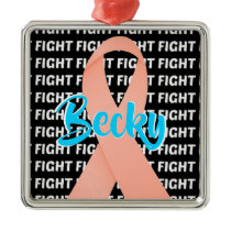 Fight Uterine Cancer Peach Ribbon Metal Ornament