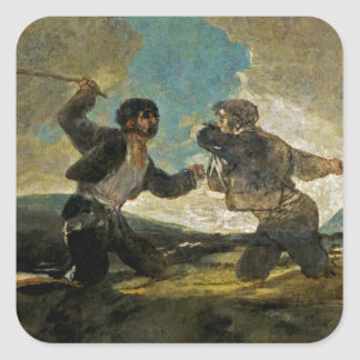 Fight with Cudgels by Francisco Goya c 1820 Square Sticker