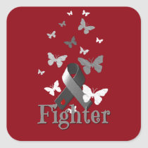 Fighter Diabetes Awareness Ribbon Square Sticker