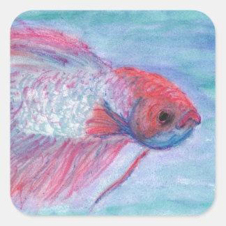 Fighter Fish Square Sticker
