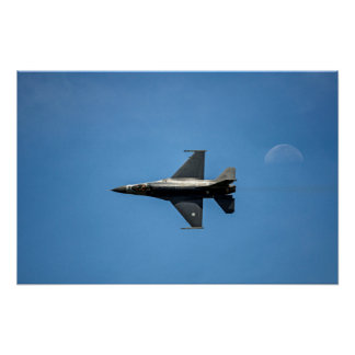 Fighter Jet Aircraft Flying With Early Moon Poster
