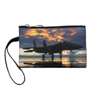 Fighter Jet Airplane at Sunset Military Gifts Coin Wallet