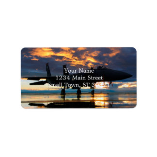 Fighter Jet Airplane at Sunset Military Gifts Label