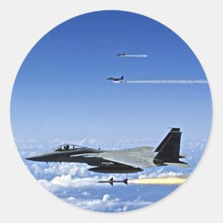 Fighter Jet Classic Round Sticker