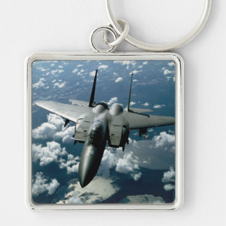 Fighter Jet Silver-Colored Square Keychain
