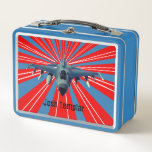 """Fighter Jet Metal Lunch Box<br><div class=""""desc"""">Fighter jet design lunchbox with customisable text.</div>"""