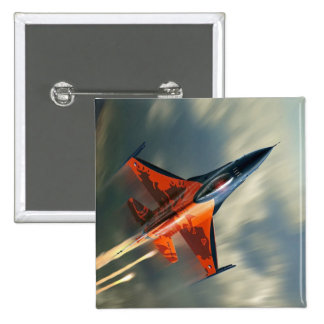 Fighter Jet Military airplane speed 2 Inch Square Button