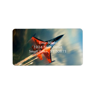 Fighter Jet Military airplane speed Label