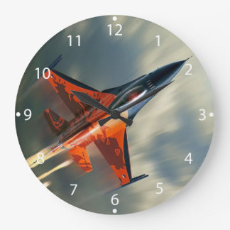 Fighter Jet Military airplane speed Large Clock