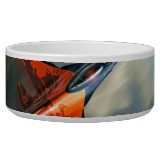 Fighter Jet Military airplane speed Dog Water Bowls