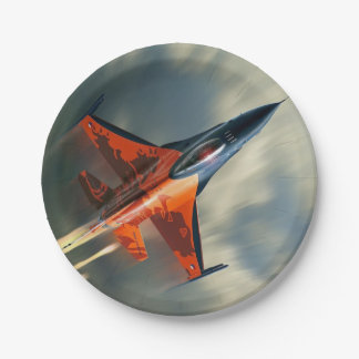 Fighter Jet Military airplane speed 7 Inch Paper Plate