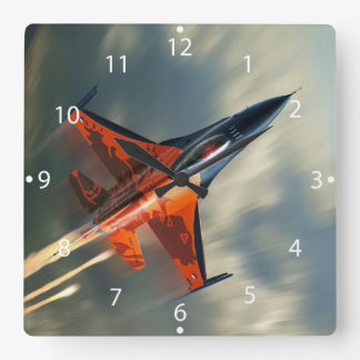 Fighter Jet Military airplane speed Square Wall Clock
