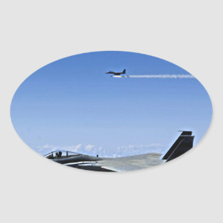 Fighter Jet Oval Sticker