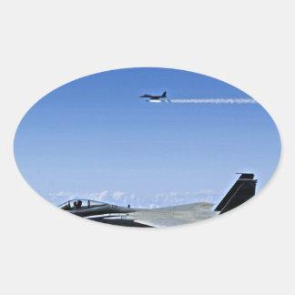 Fighter Jet Oval Sticker
